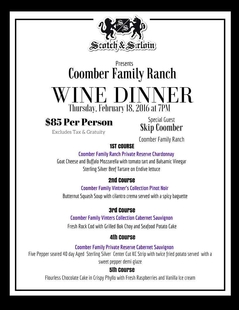 Coomner Family Wine Dinner 2016